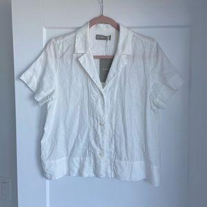 Everlane Linen Notch Short Sleeve Shirt size 4